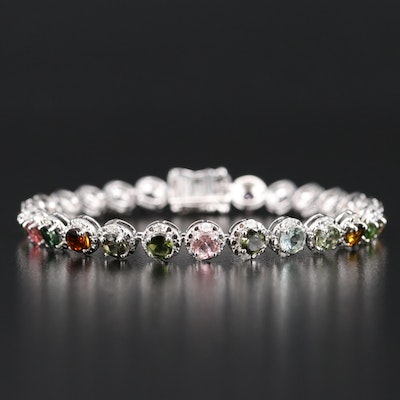 Sterling Silver Tourmaline and Diamond Bracelet