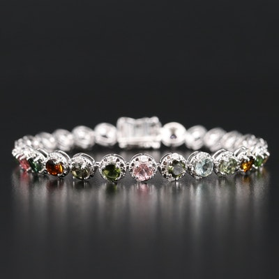 Sterling Silver Tourmaline and Diamond Bracelet