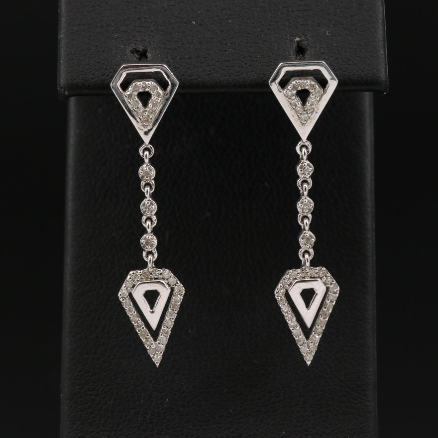 14K Diamond Geometric Drop Earrings