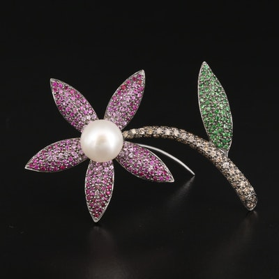 18K Pearl, Ruby, Tsavorite and Diamond Corsage Brooch
