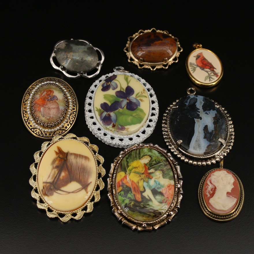 Brooches and Pendants Featuring Agate, Jasper and Ceramic