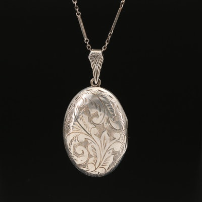 Sterling Foliate Locket Necklace