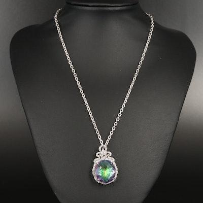 Sterling Mystic Quartz and Topaz Necklace