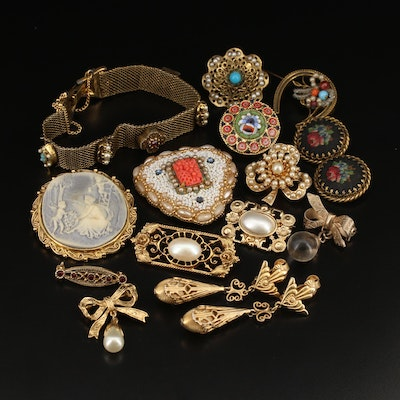 Vintage Jewelry Featuring Micromosaic Brooch and Petite Point Earrings