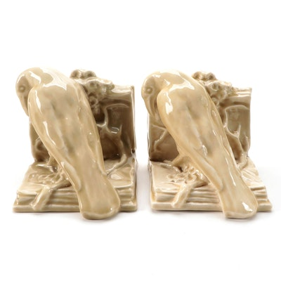 """Rookwood Pottery High Glaze Ceramic """"Rook"""" Bookends, Mid-20th Century"""
