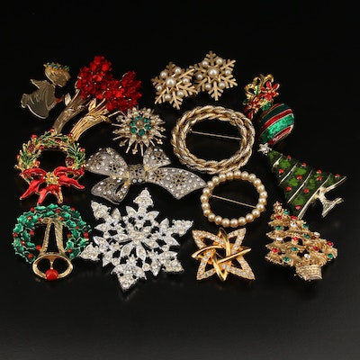 Rhinestone and Pearl Jewelry Featuring Holiday Brooches and Earrings