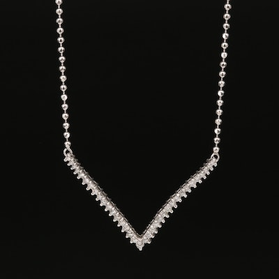 14K Diamond Chevron Pendant Necklace