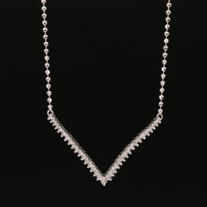 14K Diamond Chevron Pendant Necklace