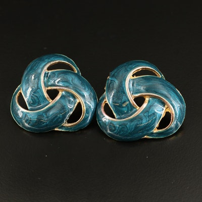 Enamel Love Knot Button Earrings