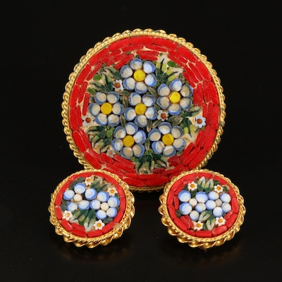 Floral Micro Mosaic Brooch and Earrings
