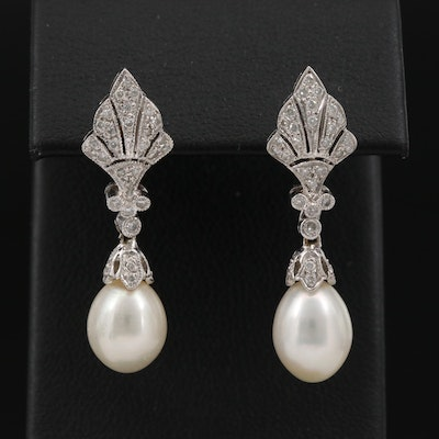 18K Pearl and Diamond Drop Earrings