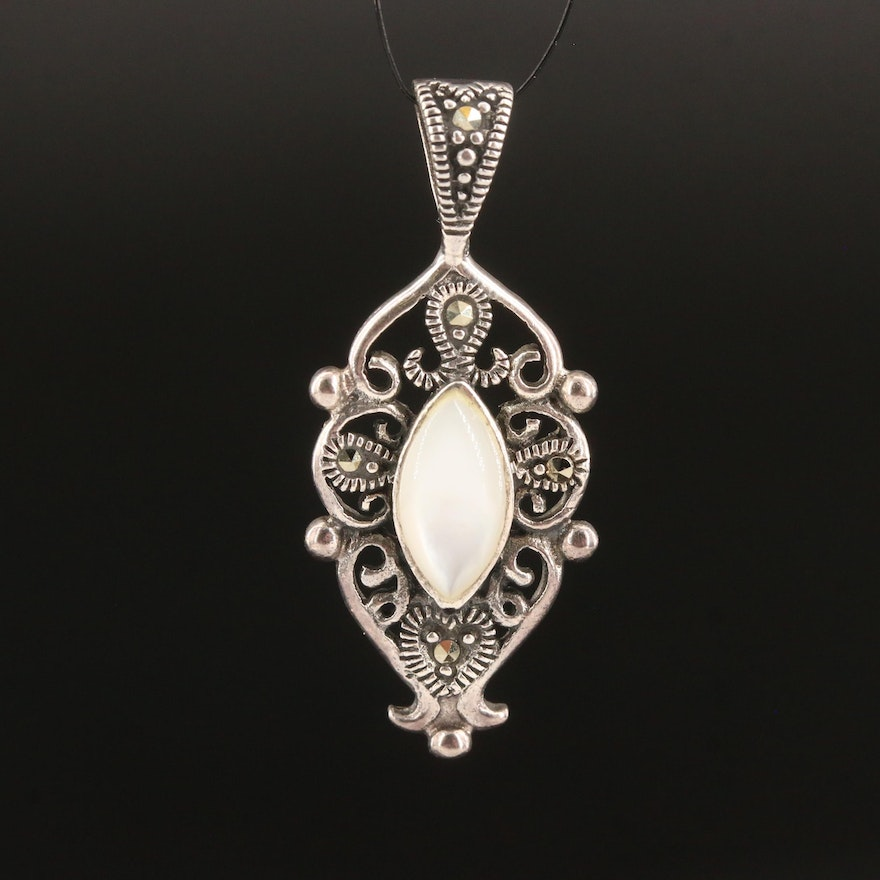 Sterling Silver Mother of Pearl and Marcasite Scrollwork Pendant