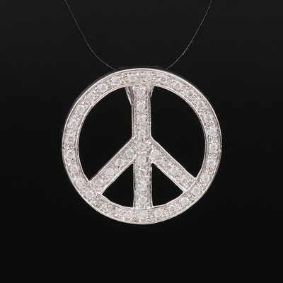 Sterling Silver Peace Symbol Pendant with Cubic Zirconia