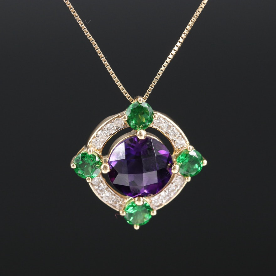 14K Amethyst and Tsavorite Pendant Necklace