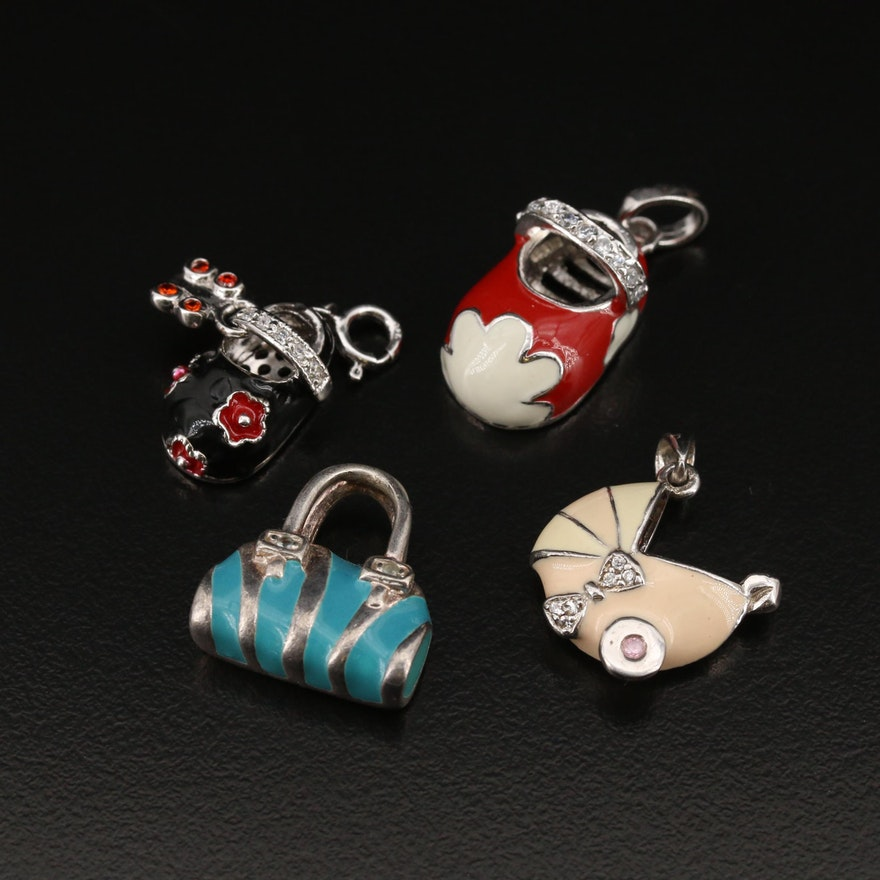 Sterling Enamel and Cubic Zirconia Charms