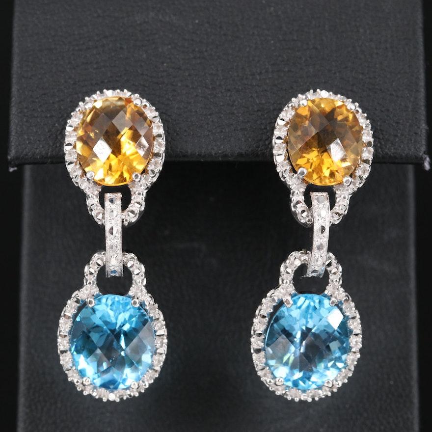 14K Topaz and Citrine Earrings