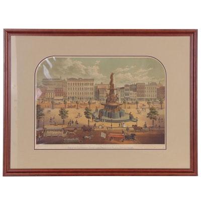 Lithograph of Davidson Fountain Street View in Cincinnati, Late 19th Century