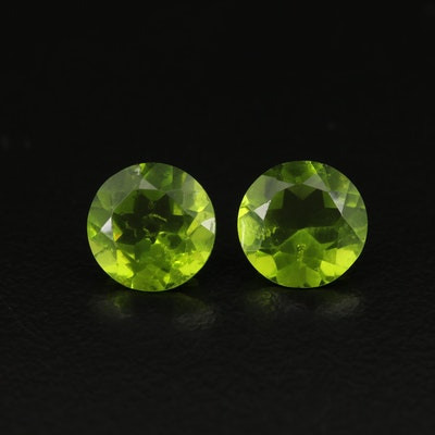 Matched Pair of Loose Round Faceted Glass
