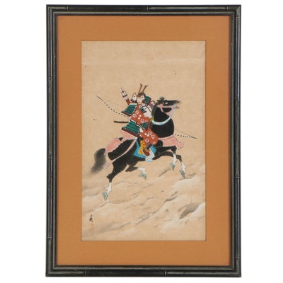 Japanese Gouache Painting of Samurai on Horseback
