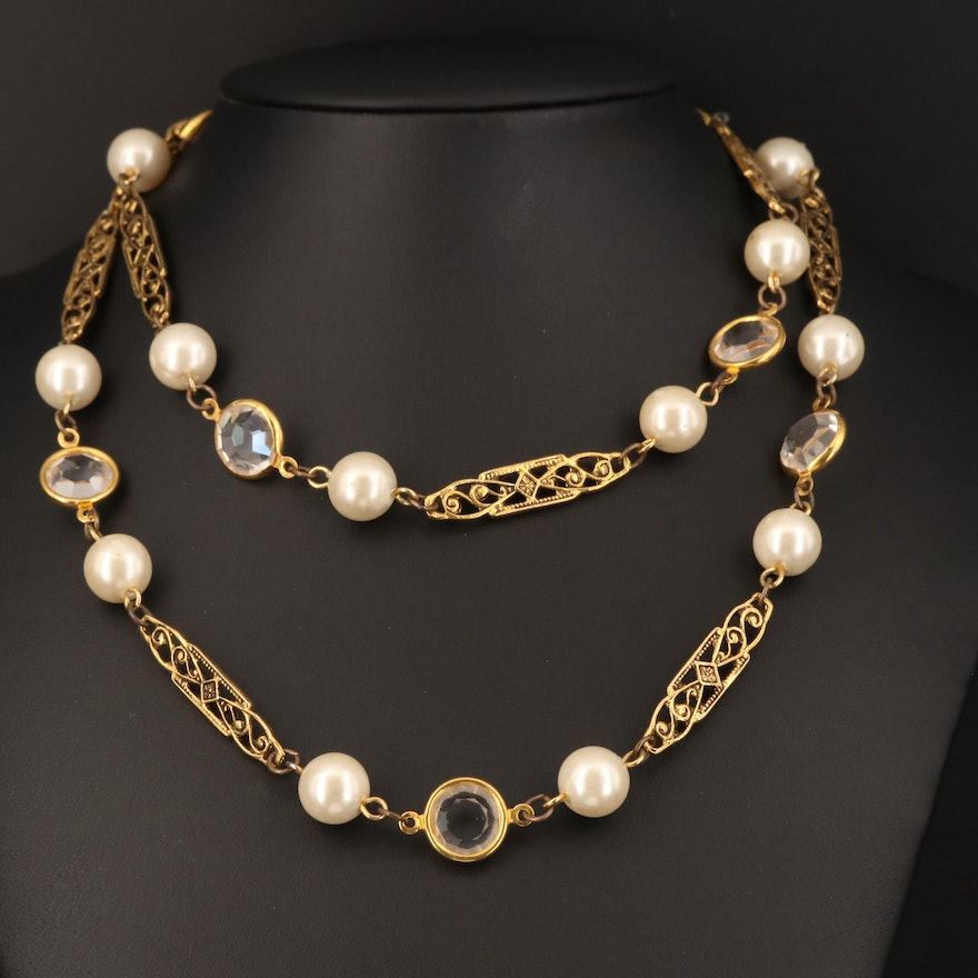 Glass and Faux Pearl Station Necklace