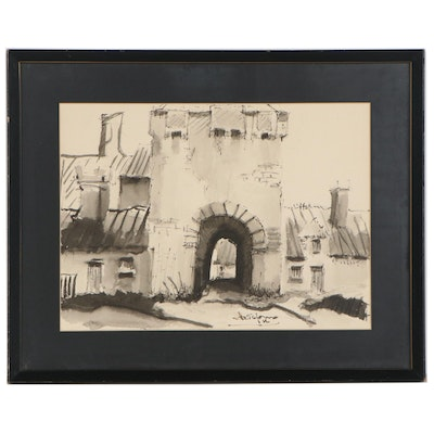 Monochrome Watercolor Painting of Archway, Late 20th Century