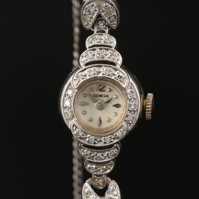 Geneva 14K Gold and Diamond Case Stem Wind Wristwatch