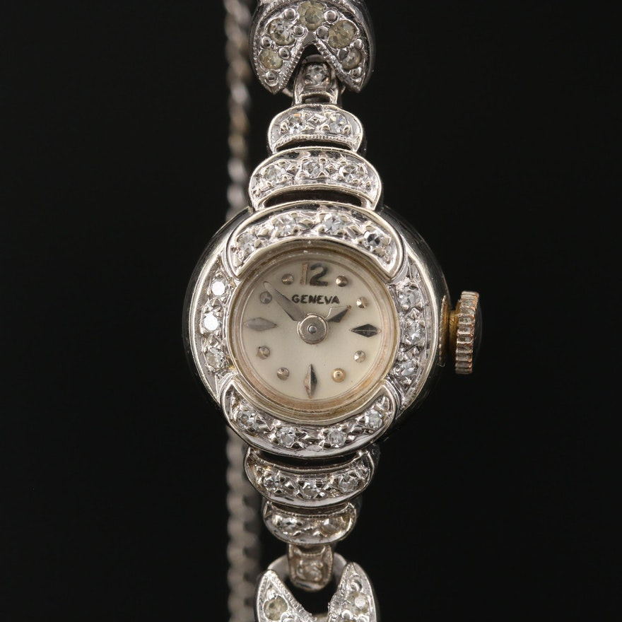 Geneva 14K Gold and Diamond Case Stem Wind Wristwatch
