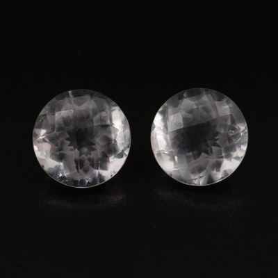 Matched Pair of Loose 12.21 CTW Round Faceted Quartz