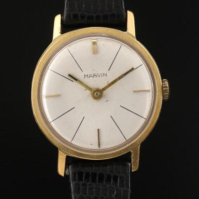 Vintage Marvin 18K Yellow Gold Stem Wind Wristwatch