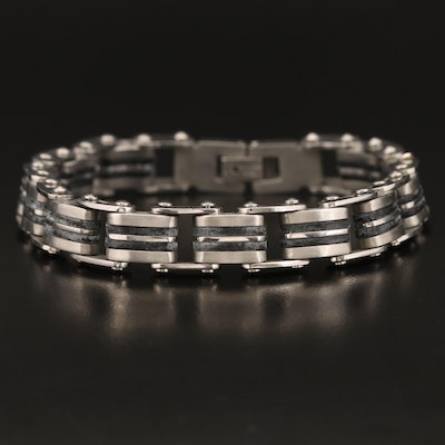 Stainless Steel Bracelet with Rubber Accents