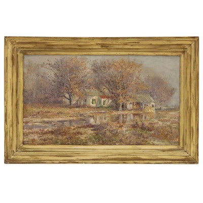 Thomas Corwin Lindsay Autumnal Landscape Oil Painting, Late 19th Century