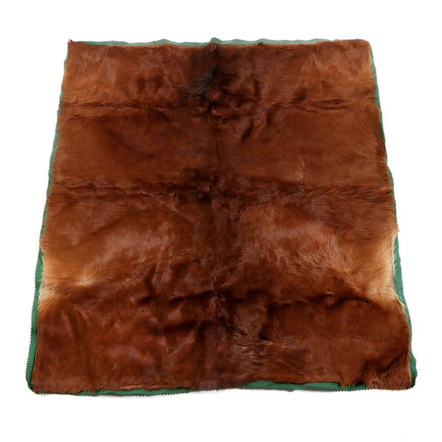 Horse Hide and Wool Carriage Blanket, Late 19th/ Early 20th Century