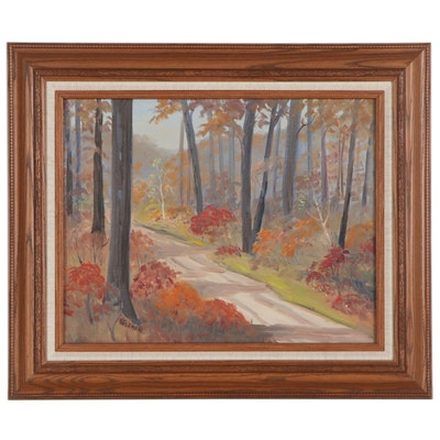 Landscape Oil Painting of Autumn Forest Road, 21st Century