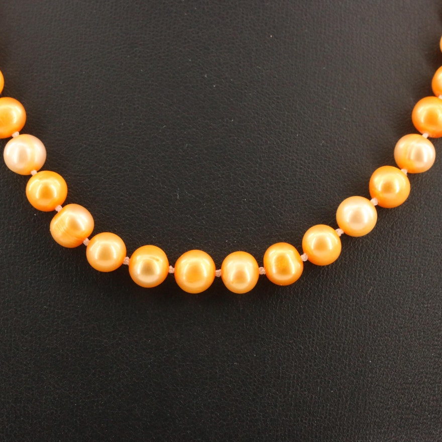 Knotted Pearl Necklace with 10K Clasp