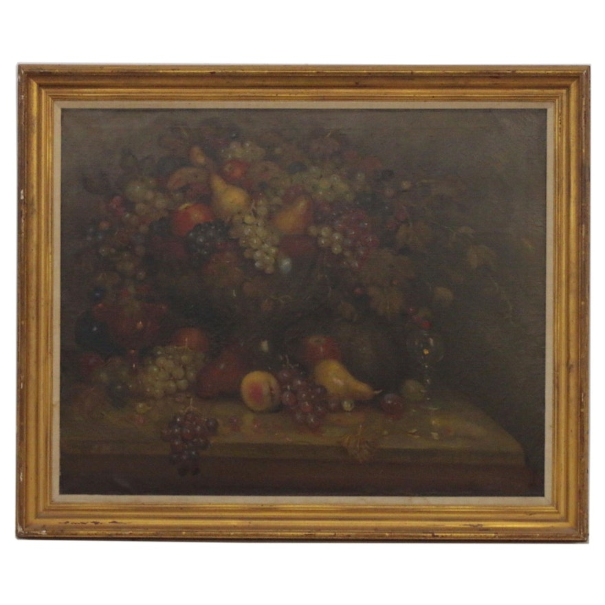 Charles Alfred Meurer Still Life Oil Painting with Fruit, 1908