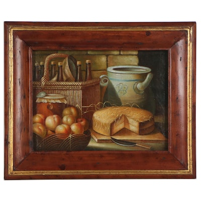 Trevor James Still Life Oil Painting with Fruit and Dairy, Mid-20th Century