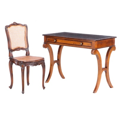 "Baker ""Milling Road"" Writing Table with Louis XV Style Side Chair, Late 20th C."