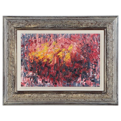 """Karen Kelly Abstract Oil Painting """"Torch Parade,"""" 21st Century"""