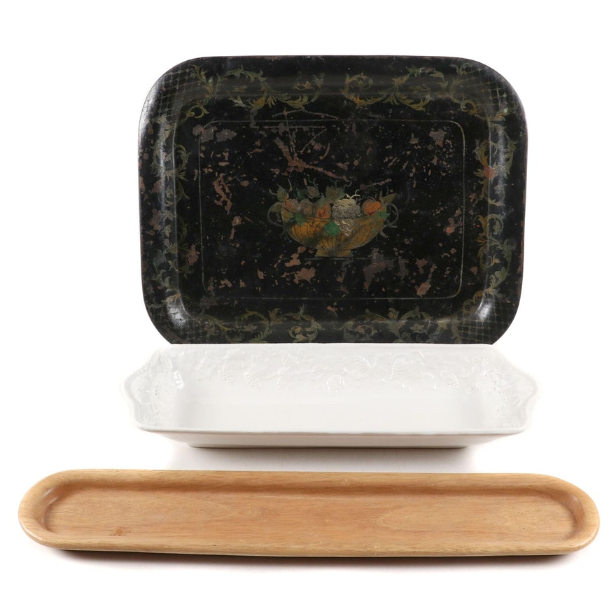 The Cellar Wooden Tray, Neuwirth Ceramic Dish, and Tole Style Tray