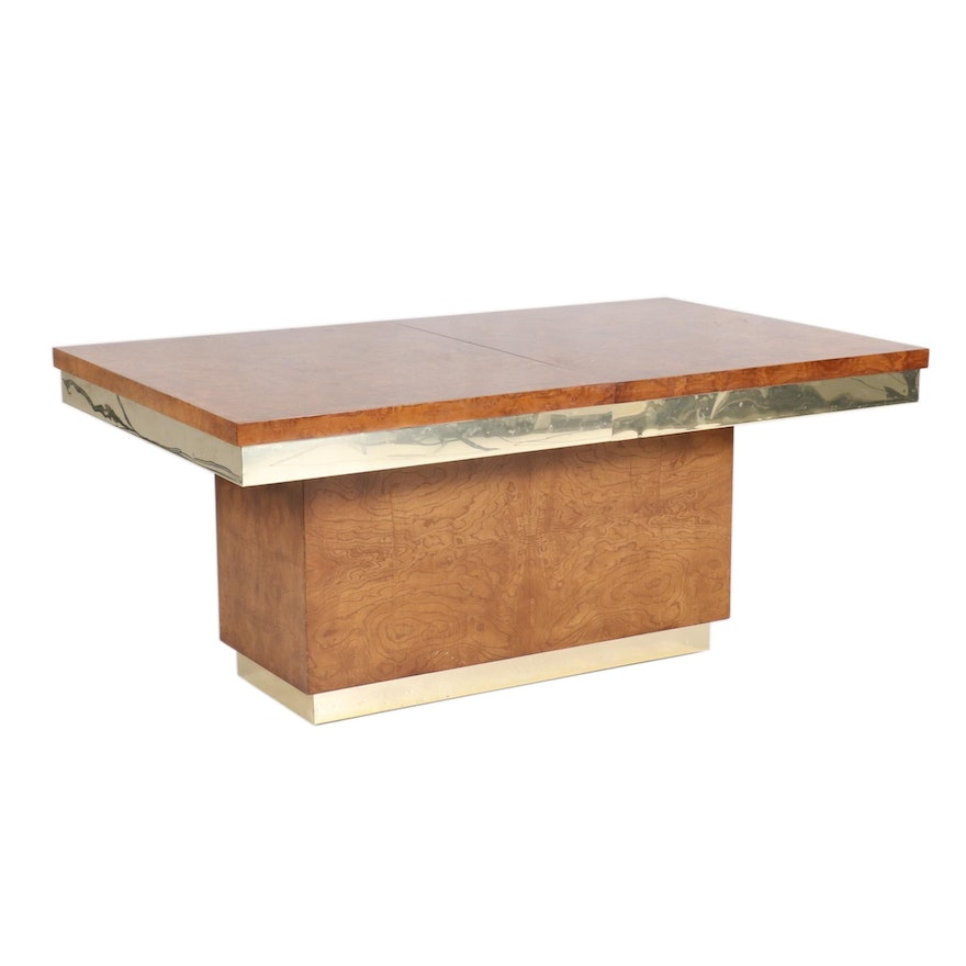 Modernist Burlwood Laminate and Brass-Clad Expandable Platform Dining Table