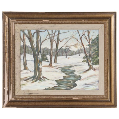 Judson Wilson Winter Landscape Oil Painting, 1989