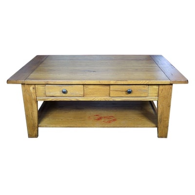 "Broyhill ""Attic Heirlooms"" Oak Plank-Top Coffee Table"