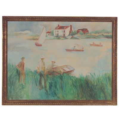 Oil Painting of Lake Scene with Row Boats, Mid-20th Century