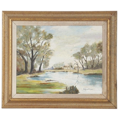 Judson Wilson Landscape Oil Painting, Late 20th Century