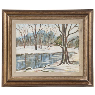 Judson Wilson Oil Painting of Winter Pond Landscape, 1989