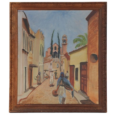 Carolyn Shine Oil Painting of Village Street Scene, Mid to Late 20th Century