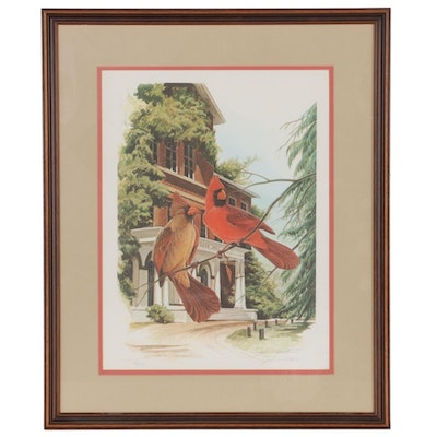 "John Ruthven Offset Lithograph ""Cardinals at Fisher Hall,"" Late 20th Century"