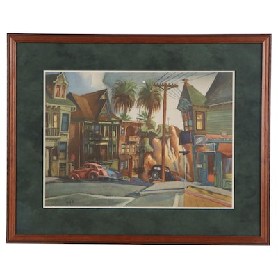 Offset Lithograph of West Coast Street Scene after Edward Reep