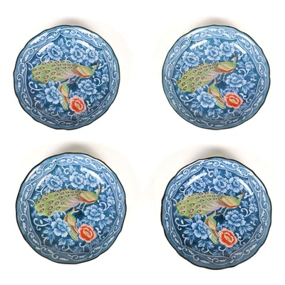 Chinese Porcelain Blue and White Coupe Plates with Colorful Peacock