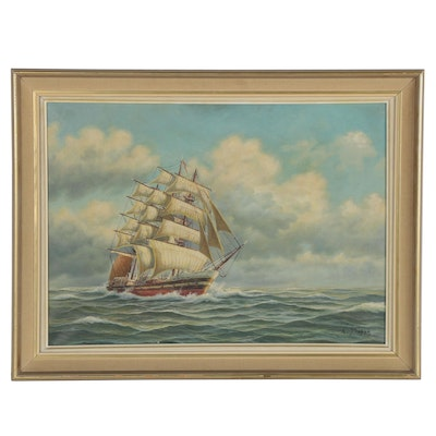 L. Simon Nautical Oil Painting, Mid-20th Century